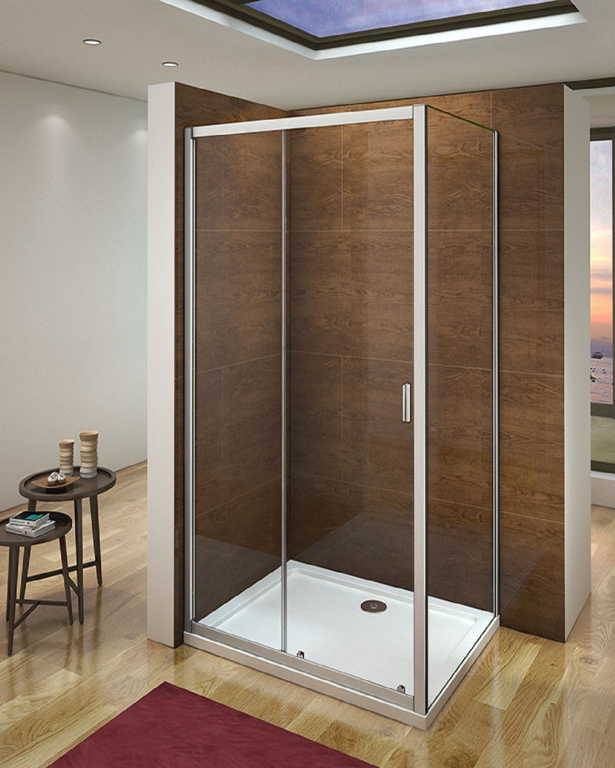5mm 1400 Sliding Door Shower Enclosure and 760 Side Panel, Bathroom ...